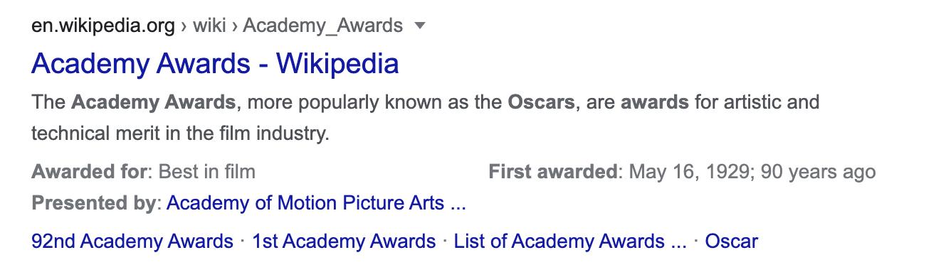 example: Oscar awards meta description